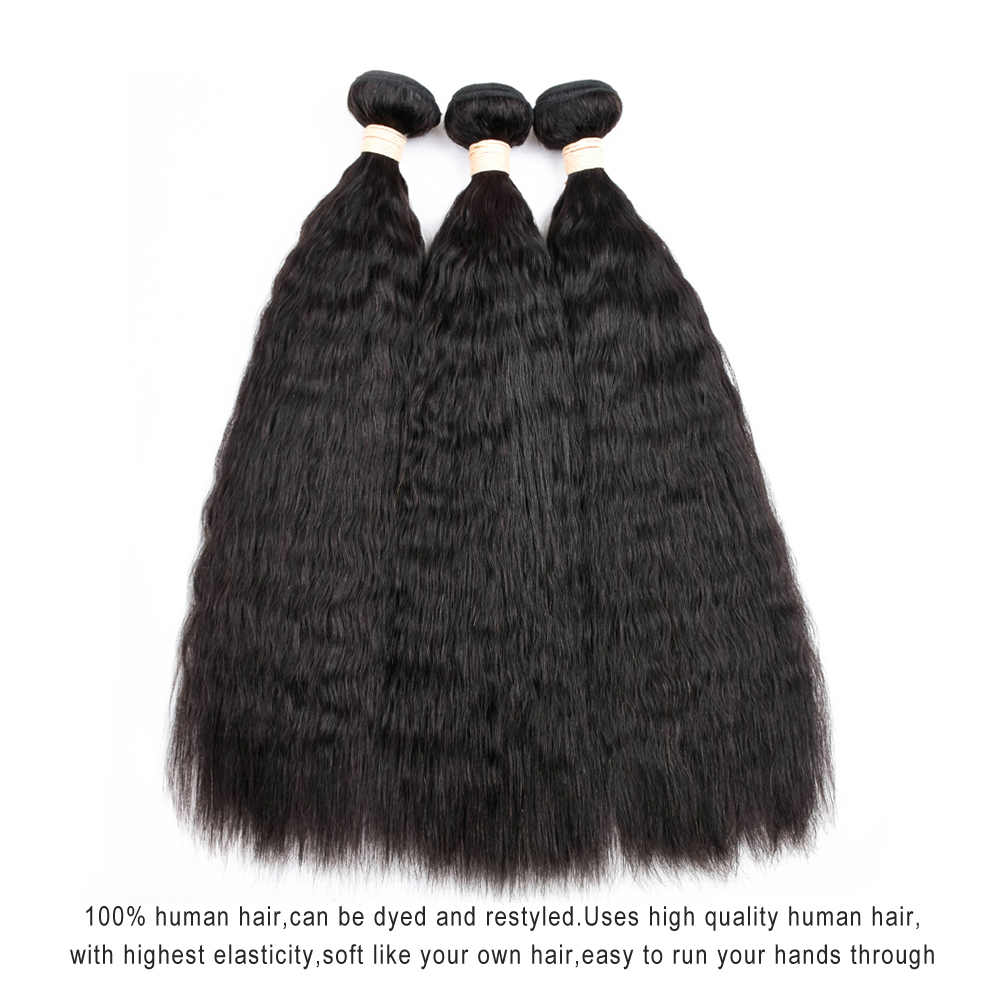 Mslove Peruvian Kinky Straight Hair Bundles 100% Human Hair Weave 3pcs Piece 300g Natural Color 8-26inch Non Remy Hair Extension