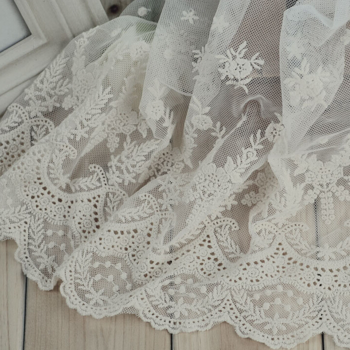Free shipping 23cm wide,3yards/lot top grade cotton lace guipure trims network embroidery lace fabirc accessary W309