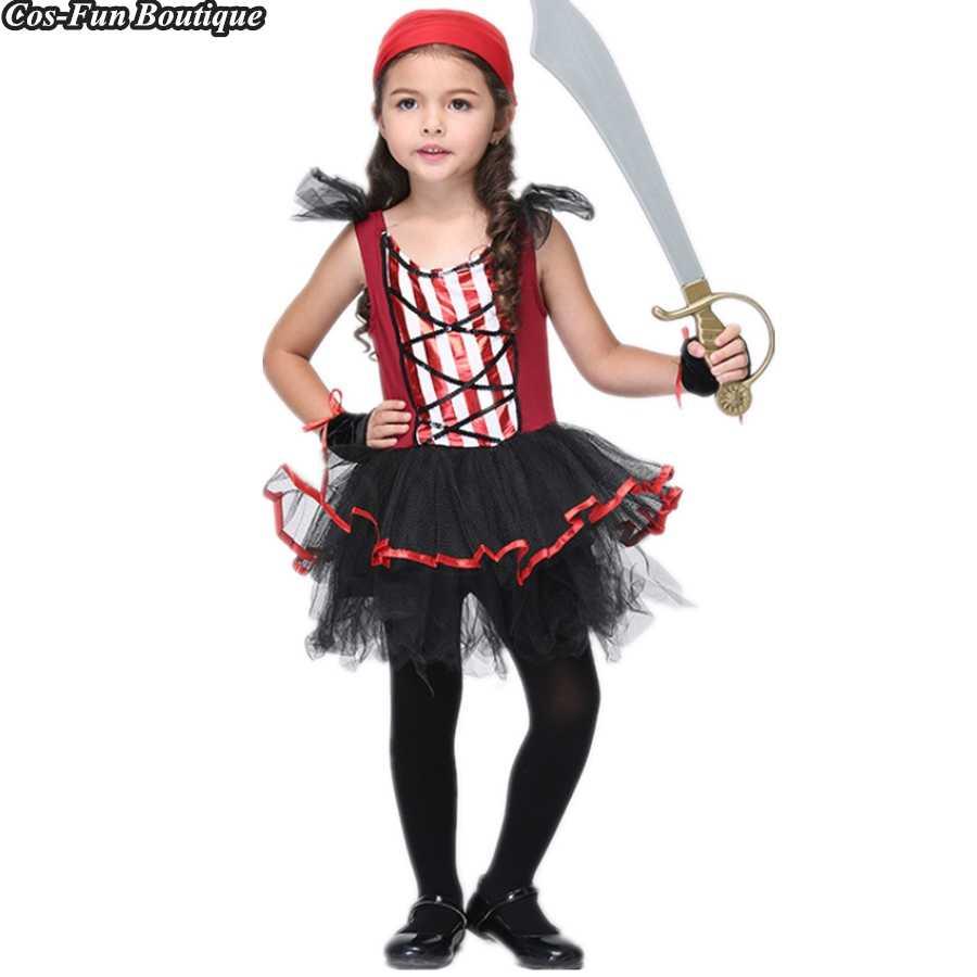 c3f62445e079 PRINCESS TUTU Kids Girls Clothing Set Fancy Pirate Dress Up Pirate Costume  Cosplay Shower Party Dresses