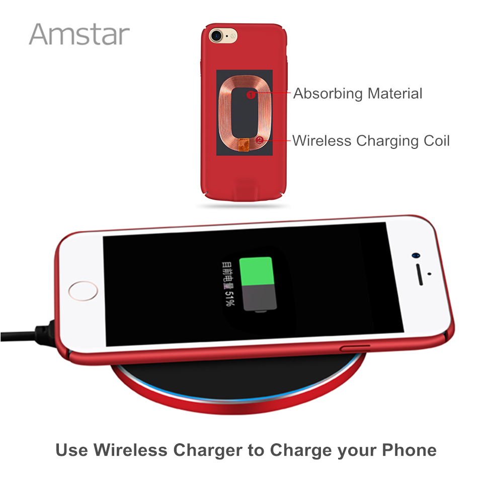 Amstar Qi Wireless Charger Receiver Case Cover 2 in 1 Wireless Charging & Cable Charging Mobile Phone Case for iphone 7 6S 6