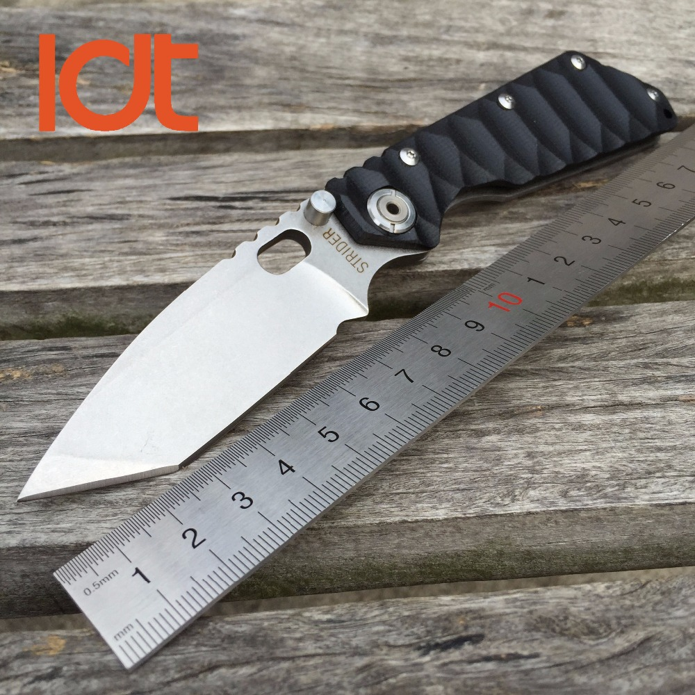 LDT STRIDER Folding Blade font b Knife b font SMF 7Cr17Mov Blade G10 Handle font b