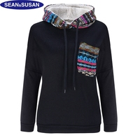 Sean&Susan Street Style Gray Striped Hoodies Women Warm Faux Fur Sweatshirt Fleece Pullovers Winter Female Loose Coats Black