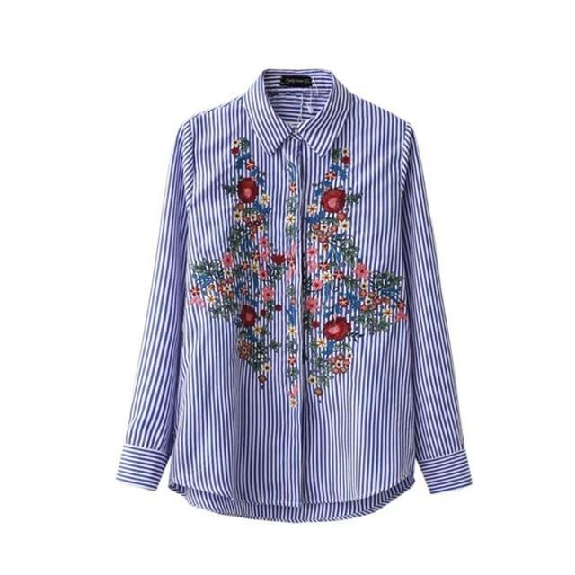 Цветочные Вышивка Блузка Женщин Хлопка Полосатый Рубашка С Длинным Рукавом отложным Синий Длинные Рубашки Camisa bordada Blusa feminino