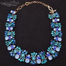 2014 Colores Nueva Marca za Declaración Joya Colgante de Collar Azul Claro de Cristal Accesorios de Las Mujeres Clain Collar Para Las Mujeres 9283