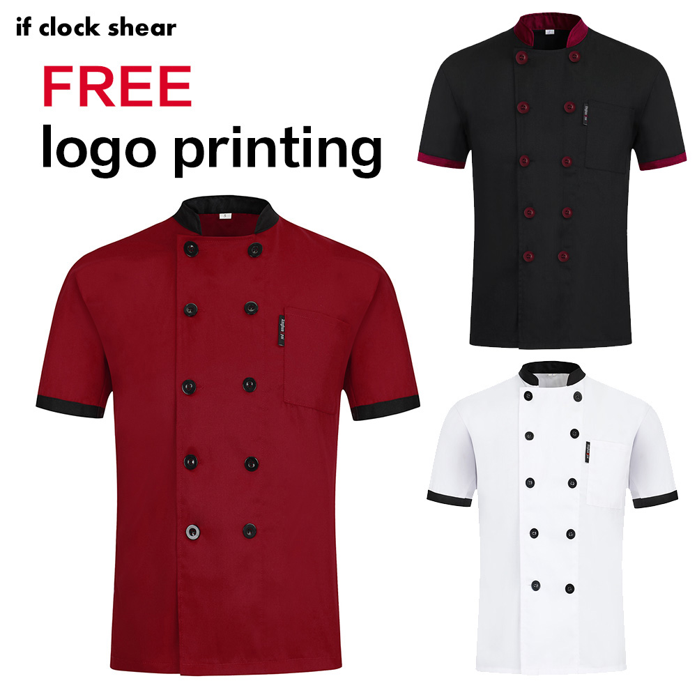 New Unisex Short Sleeve Chef Restaurant Uniform Kitchen Shirt Breathable Double Breasted Chef Jacket Hotel Works Uniforms Coat