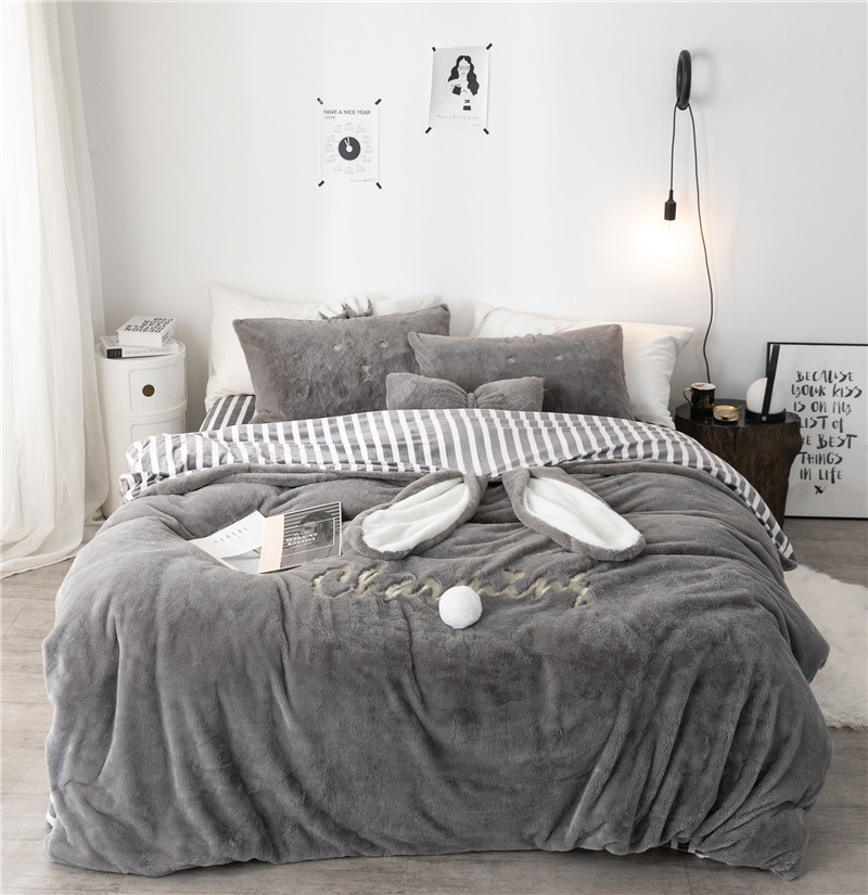 -Luxury Solid Color Fleece Fabric  Bedding Set Duvet Cover Sheet Pillowcase King Queen Twin Size White Gray Pink Bed Linen