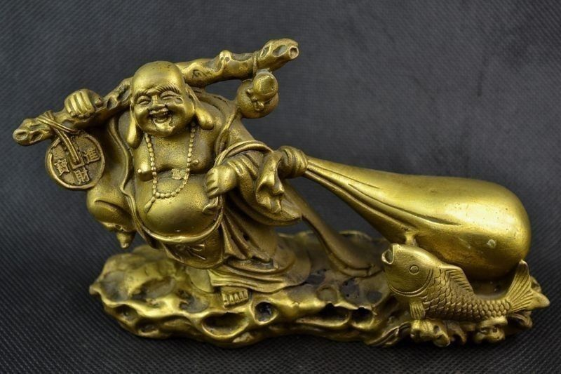 Exquisite Chinese Old Handwork Brass Buddha Carry Bag Of Gold Coin Statue