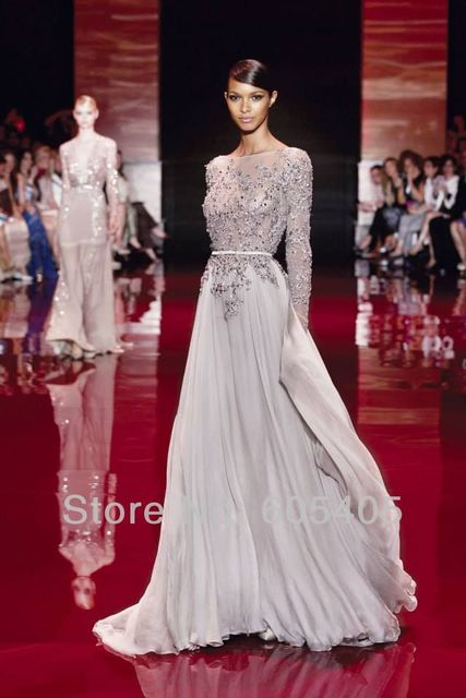 Elegant Long Sleeve High Neck Prom Dresses 2017 Zuhair Murad Evening Open Back Vestidos De