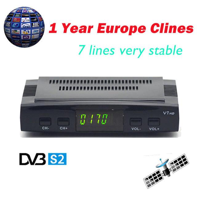 US $18 99  Clines For 1 Year Original V7 HD DVB S2 Satellite Receiver  decoder Support Power Vu Biss Key Clines + Europa clines Server-in  Satellite TV