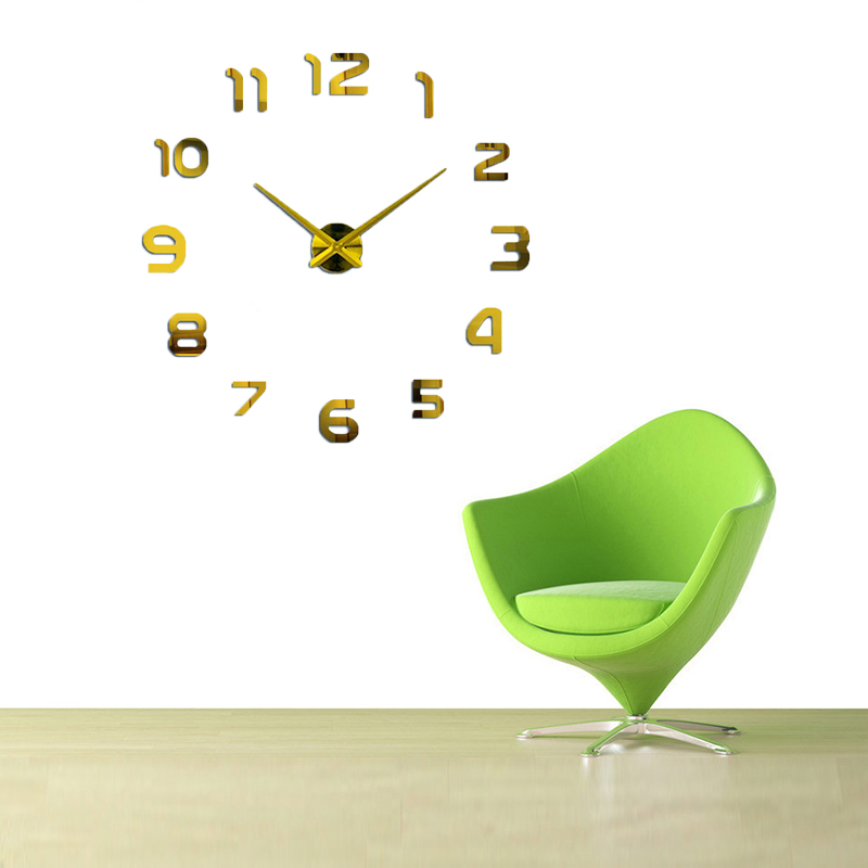 mote Digital Stor veggklokke personlig stor veggklokke 3d diy klokke Akrylspeil Klistremerker Quartz Modern Home Decoration