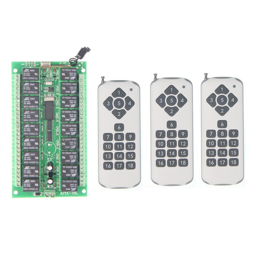 DC 12V 24V 18 CH Channels 18CH RF Wireless Remote Control Switch System,3 X Transmitter + Receiver,315/433.92 MHZ dc 12v 24v 10a 8 ch 8ch radio controller rf wireless remote control switch system 315 433 92 mhz 3 x transmitter receiver