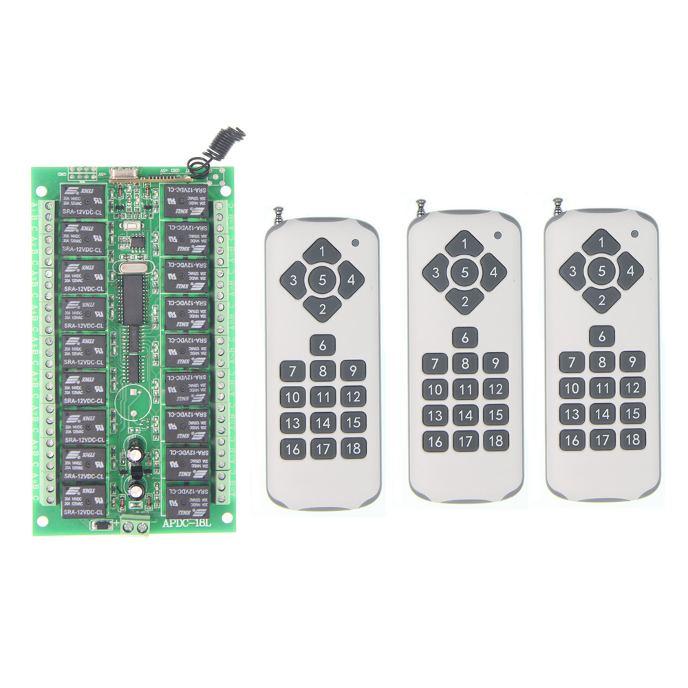 Universal DC 12V 24V 10A Relay 18CH 18 CH Wireless RF Remote Control Switch Transmitter+Receiver Module,315 / 433 MHz
