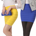 New Brand 2016 Summer Solid Fashion Candy Color Knitted Striped Elasticity Vintage Office Lady Sexy Skirt Women Pencil Skirts