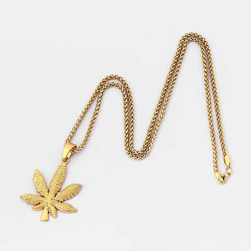 1 قطعة مجوهرات الأزياء كندا القيقب جامايكا القنب ليف الأفريقي النباتات شجرة الاعشاب أوراق الشجر يترك قلادة قلادة هدية للرجال النساء