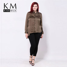 kissmilk Plus Size New Fashion Women Button Down Side Split Big Asymmetrical Hem Casual Blouse 3XL 4XL 5XL 6XL