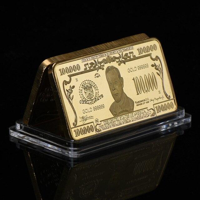 WR 100000 Dollar 24k Gold Bar American Currency World Paper Money Fake Bars Creative 9999