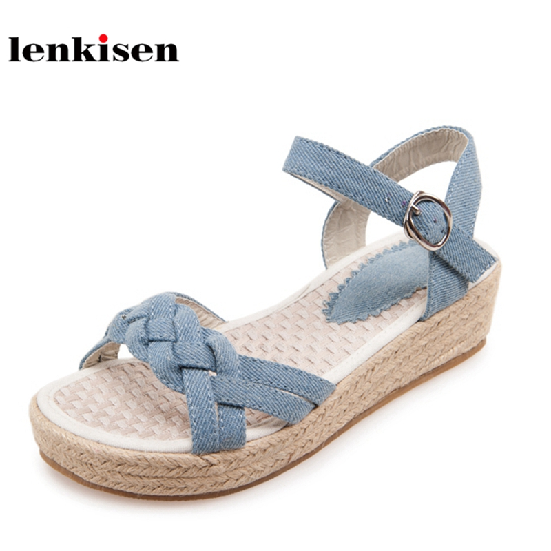 Lenkisen new denim peep toe flat with med heels gladiator summer shoes buckle straps simple style sweet young women sandals L23 2018 new popular gladiator style cow leather peep toe ankle straps fashion women med heel sandals summer brand causal shoes l80