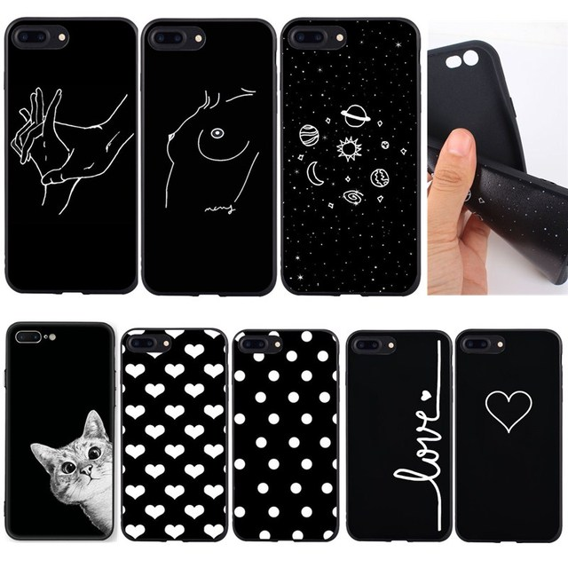 info for 0a70a 76c13 US $0.62 31% OFF|Silicone Line Art Face Abstract Pattern For iphone 8 plus  Case Black Cute Cat Love Dot Soft Phone Bags For iphone se 5 5s 6 6s x-in  ...