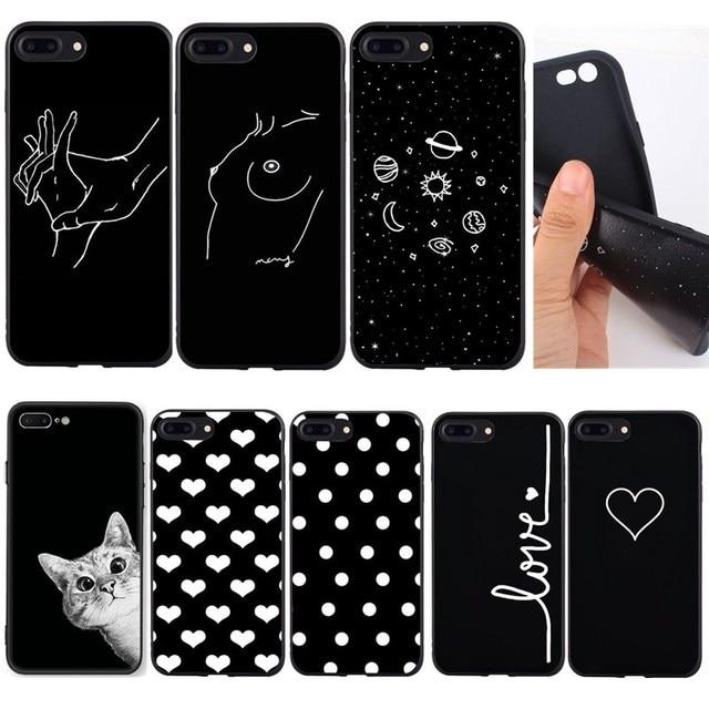 Ốp Dòng Nghệ Thuật Mặt Trừu Tượng Hoa Văn Cho iPhone 8 Plus Ốp Lưng Đen Mèo Yêu Chấm Mềm Túi Đựng Điện Thoại Cho iPhone SE 5 5s 6 6s x