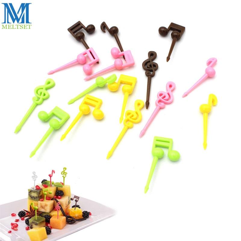 16pcs Musical Note Shape Fruit Fork Pick Set Plastic Kids Fruit Toothpick Party Cake Dessert Sign Bento Decor Accessories