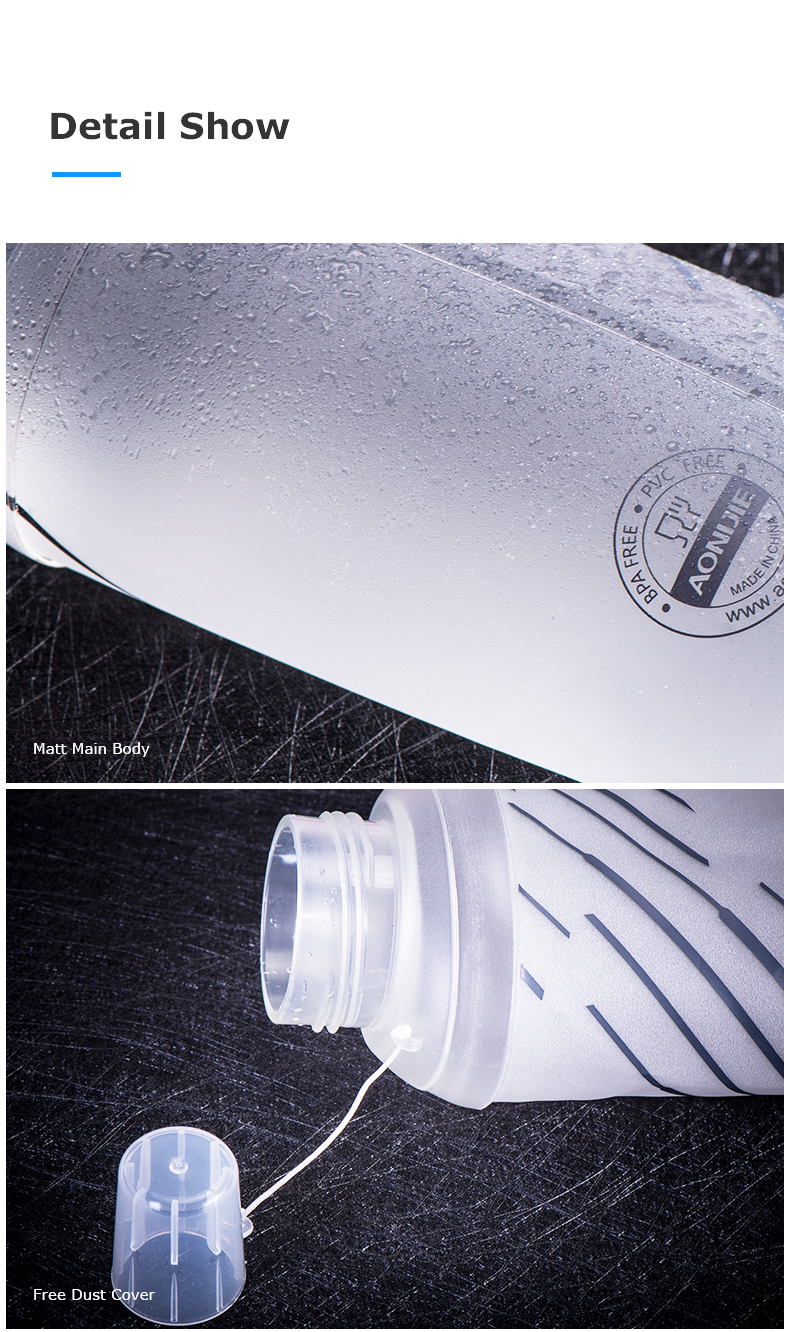 Foto of detail show water's flask folding TPU for sport. Collapsible flask of water 500ml for hiking