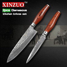 2 pcs kitchen knives set 73 layers Japanese VG10 Damascus kitchen knife very sharp chef utility knife wood handle free shipping