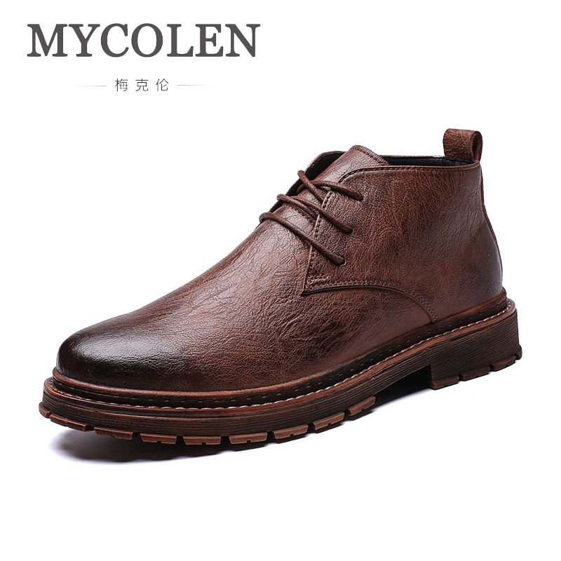 MYCOLEN New Comfortable Men Genuine Leather Winter Boots High Quality Men Boots Ankle Boots For Men Business Dress Shoes Men mycolen luxury famous men winter boots quality genuine leather boots men business slip on shoes men ankle boots tenis masculino