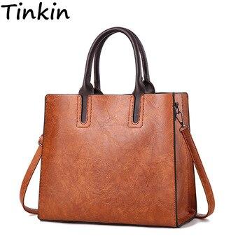 Tinkin أوروبا وأمريكا خمر بو الجلود النساء حقيبة يد أكبر قدرة المرأة حقيبة كتف لل luxry حقيبة نسائية صغيرة حقيبة