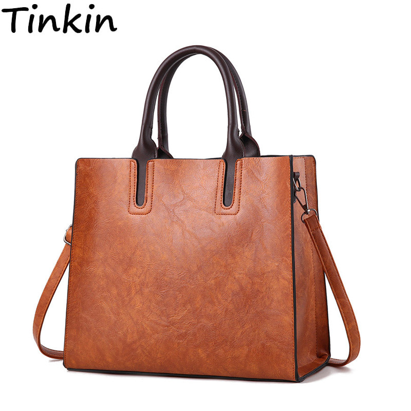 Tinkin Europe and America vintage PU leather women handbag larger capacity women shoulder bag luxry women tote bag fashionable women s tote bag with cover and pu leather design