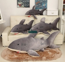 Dorimytrader 140cm Large Plush Simulated Animal Shark Plush Pillow Toy 55''  Cartoon Soft Bite Sharks Doll Present DY0941