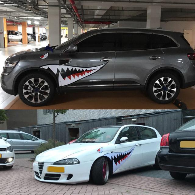 Hiu mulut refitting mobil sticker mobil styling reflektif vinyl sticker auto keren decal untuk sisi pintu eksterior