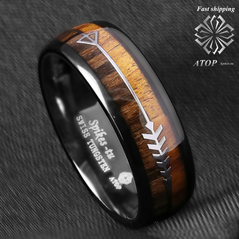 Black Ion Plated Hammered Finish Multi Grooved Center High Polished Comfort Fit Tungsten Carbide Anniversary Ring Mens 8mm 2 Tone Beveled Knotched Edge Wedding Band