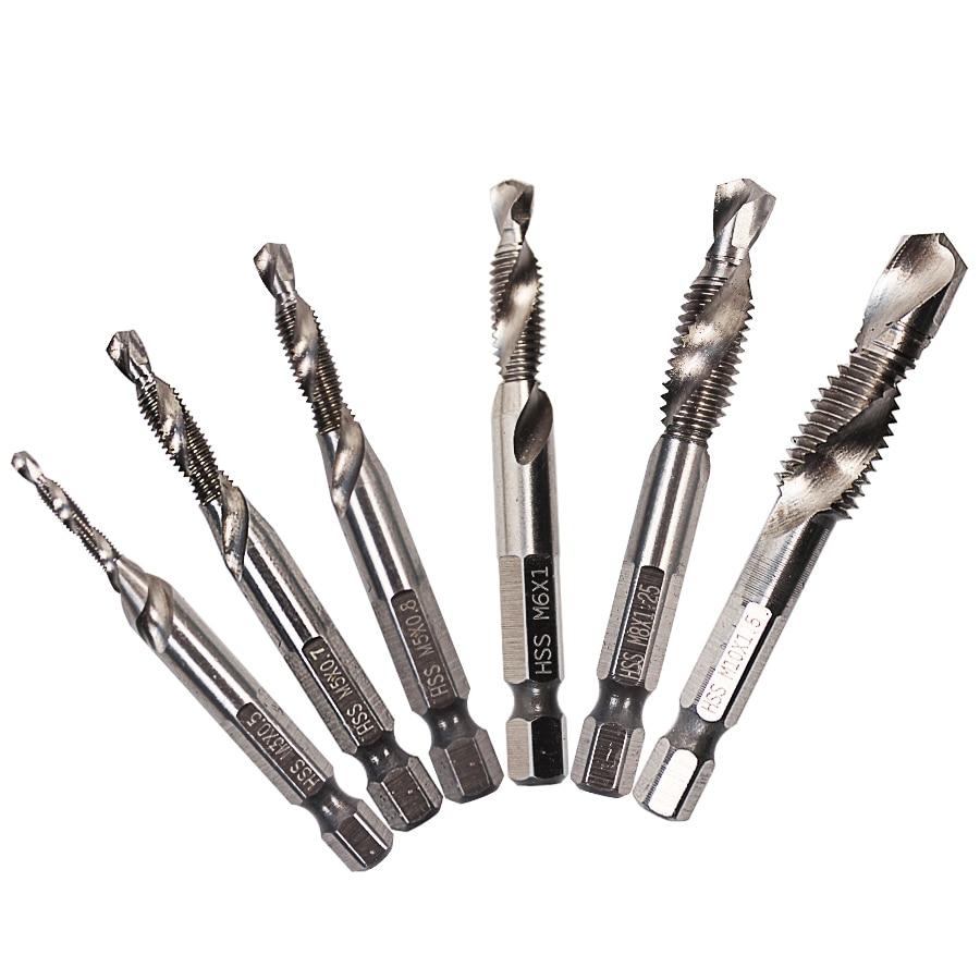 MX-DEMEL 1/4'' Hex HSS High Speed Steel Thread Spiral Screw M3 M4 M5 M6 M8 M10 Metric Composite Tap Drill Bit Tap 6Pcs/Set Bits 6pcs set m3 m10 metric composite tap drill bit thread spiral screw tap 1 4 hex hss drill bit