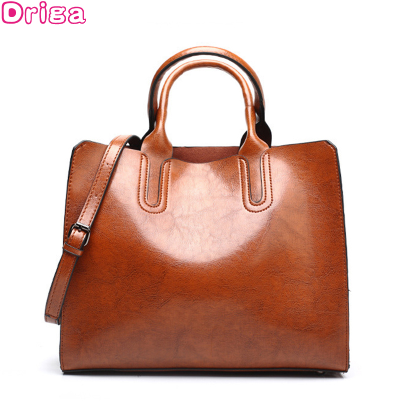 be579dca1f DRIGA Vintage Women Handbag Luxury Oil Wax PU Leather Shoulder Bag Casual  Tote Large Bolsos Trunk Tote Bag