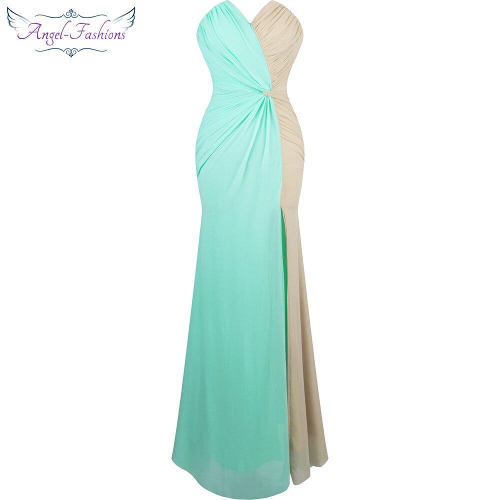 Angel-fashions Strapless Pleat Splicing Mermaid Long   Evening     Dress   vestido de festa black and Green 257