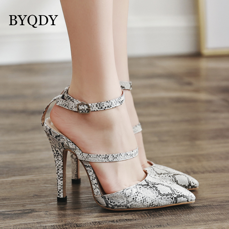 BYQDY Sexy Snake Skin Women Belt Pumps Pointed Toe High Heels Sandals Buckle Ankle Belts Nightclub Gladiator Shoes