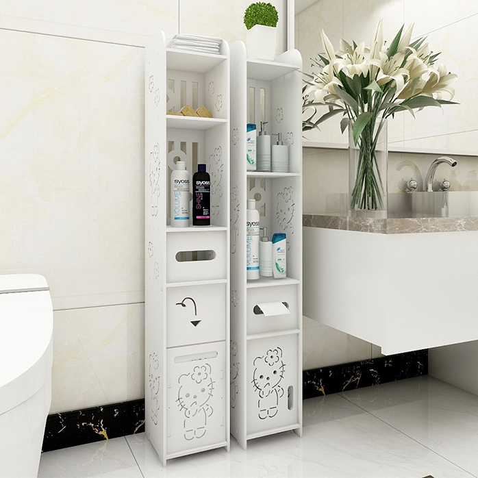 12 モデル浴室収納棚トイレ家具キャビネットホワイト木製の食器棚棚ティッシュ布収納ラックロッカー  グループ上の ホーム&ガーデン からの 収納棚 & ラック の中 1