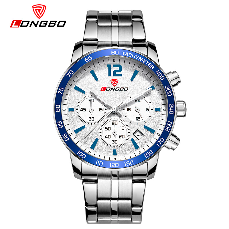 2018 Longbo Luxury Men Genuine Leather And Stainless Steel Band Sports Quartz Watches For Male Leisure Watch Relogio Masculino ibso outdoor leisure sports watches for men genuine leather band quartz mens watches 2018 fashion waterproof relogio masculino