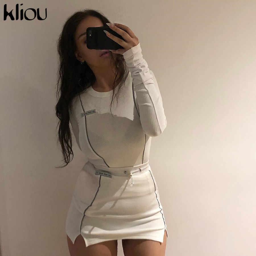 Kliou kobiety moda odblaskowe w paski patchwork dwa kawałki ustawić 2019 biały pełna rękaw crop top dół spódnice strój dres