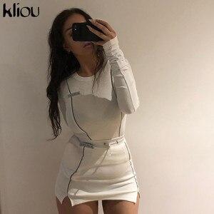 Image 2 - Kliou modo delle donne Riflettente A Righe patchwork due pezzi set 2019 bianco pieno manica crop top fondo gonne outfit tuta