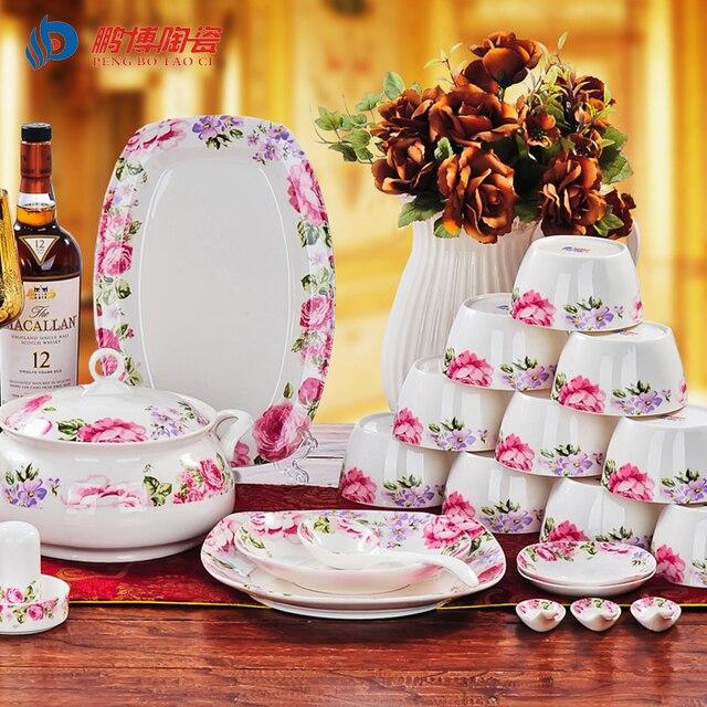 A Set 56pcs Korean Porcelain Dinnerware Sets Bone China Ceramic Flower Pattern Glazed Household Dining Utensils  sc 1 st  AliExpress.com & A Set 56pcs Korean Porcelain Dinnerware Sets Bone China Ceramic ...