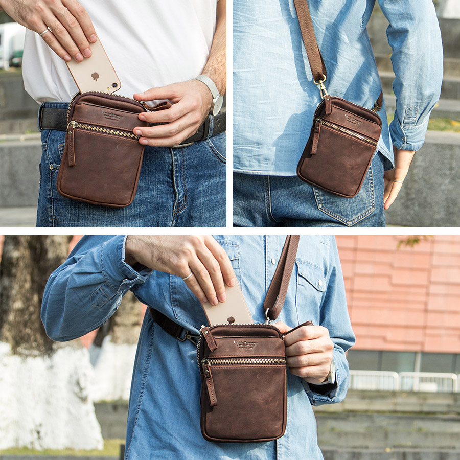 CONTACT'S 100% genuine leather men waist pack for cell phone shoulder bag travel pouch small crossbody bags card holders bolsas 5