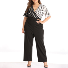 Plus Size Overalls Women Casual Polka Dot V Neck Sexy Ladies Jumpsuits Loose Wide Leg Pants Rompers Female Bohemian Jumpsuit D25