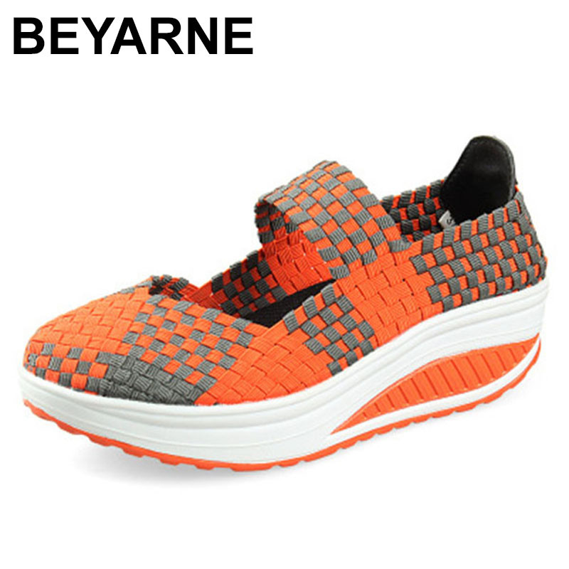 BEYARNE 2018 Casual Women Slimming Shoes Platform Shoes Wedges Height Increasing Spring Summer Women Fitness Swing Mother Shoes minika women casual canvas shoes air cushion soles slip on swing fitness shoes platform wedges walking height increasing shoes