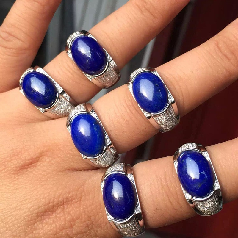 Natural Lapis Lazuli Stone Silver 925 Rings For Men Chunky 925 Sterling Silver Ring 100% Real Blue Stone Ring With Certificate yh 925 sterling silver with natural lapis lazuli suits