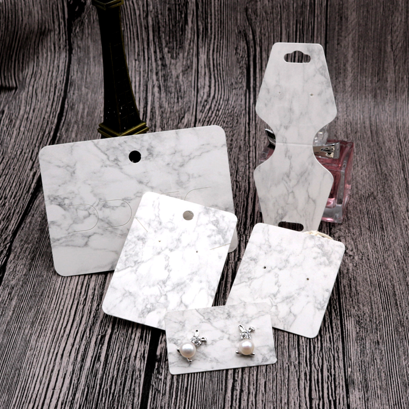 100Pcs/lot White Paper Necklace Card Marbling Design Jewelry Earrings Card Favor Necklaces Headwear Display Packaging Cards