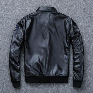 Image 5 - MAPLESTEED Bomber Flight Jacket Men 100% Natural Calf Skin Jacket Soft Air Force Pilot Leather Jackets Mens Coat Autumn M194