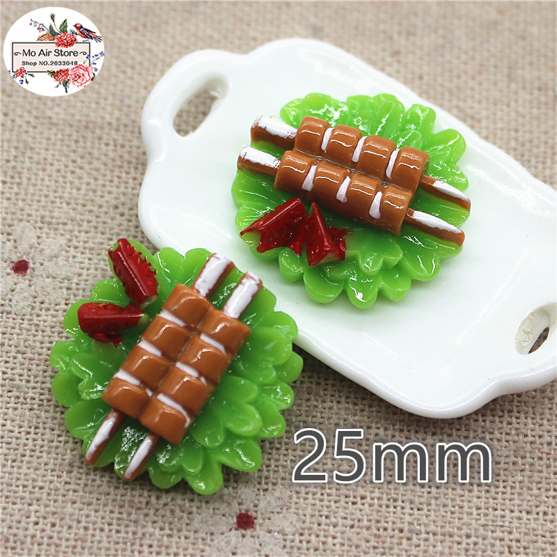 10PCS 25mm Resin Kebab Flatback Cabochon Miniature Food Decoration Charm Craft