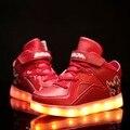 26-37 Tamaño/2016 Nueva Carga USB Cesta de Zapatos Para Niños Con Luz Led Up Kids Casual Boys & niñas Luminosos Zapatillas De Zapatos Brillantes