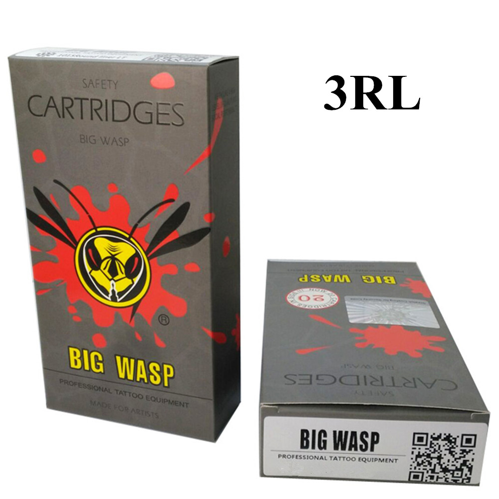 BIGWASP Gray Disposable Needle Cartridge 3 Round Liner (3RL) 20Pcs/Box